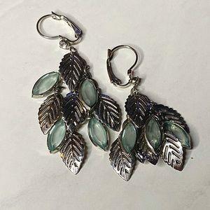 Metal Feather Dangly Earrings